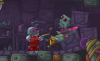 És um robot que tem de passar por uma caverna com zombies e ganhar entretanto tantos pontos quanto possível. Podes comprar armas, etc. nom menu em baixo á direita. Dez desafiantes níveis estão disponíveis para ti, tenta completá-los a todos!