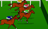 Vais participar numa corrida de cavalos. Tenta dar ao teu cavalo as chicotadas que forem necessárias para que ele galope depressa e salte os obstáculos.