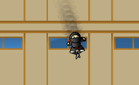 Elimina os outros ninjas e tenta apanhar o tesouro! As superfícies pretas são pegajosas. As superfícies metálicas cinzento escuro, pelo contrário, são muito escorregadias: podes facilmente escorregar quando aterras nelas. As superfícies amarelas, que parecem um pouco com queijo esburacado, são elásticas: se as pisas, abanas. Cuidado com as superfícies vermelhas com picos: se tocares nelas, morres! Ao combinar acções, por exemplo derrubando um ninja branco e pontapeando um bloco de madeira, ganhas um bónus. Tenta atingir todos os teus objectivos no mínimo de saltos possível: quanto menos vezes saltares, mais bónus ganhas.