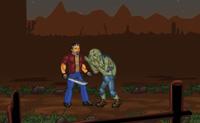 Nesta velha cidade abandonada de garimpeiros há uma batalha em curso entre cowboys e zombies. Tu, também, és atacado por zombies bêbedos, que estão atrás de ti e da tua tequila!  Tenta manter-te vivo o máximo de tempo possível, e matar tantos zombies quanto possível. Quanto melhor lutares, mais dinheiro ganhas, permitindo-te comprar melhores armas.