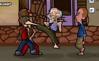 O avô Kung Fu vive numa favela cheia de escumalha. Um dia ele está a dormir uma sesta na cama, quando uma bola de beisebol entra pela janela e mal falha a sua cabeça. Ele está furioso! Ele tenciona vingar-se, e embora o velho homem pareça um pouco magricela, ele é ainda forte e ágil como um jovem Ninja. Podes ajudar o avô na sua batalha contra a ralé? Enquanto lutas, tens de apanhar dinheiro, latas de cola e bónus.