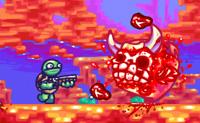 Super tartaruga, é um mundo hostil onde vives. Encontras todo o tipo de pequenas criaturas que estão aí para te atacar, mas felizmente estás armado e podes abatê-los antes que eles te matem. Normalmente a velocidade não é o teu forte, mas logo que eu veja que estás a fazer o teu melhor estás a ir muito bem!