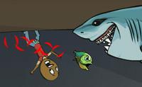 A piranha sanguinária ainda não comeu o suficiente. Podes ajudá-la a obter a sua dose diária de carne? Debaixo de água ela vai em busca de vítimas, e logo que detete uma, dá um salto para atacar. Quanto mais come, mais alto ela sobe na cadeia alimentar.
