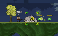 Um divertido jogo de plataforma onde tens que eliminar os inimigos extraterrestres, atirando neles. Apanha as caixas penduradas nos bal�es: elas cont�m atualiza��es!