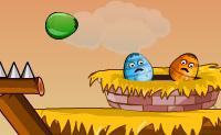 Atira os ovos verdes de volta ao seu ninho e deixa que batam no m�ximo poss�vel de ovos de ouro. N�o deixes que caiam ou se danifiquem! Tamb�m podes usar o teletransporte: nesse caso atiras um ovo para um