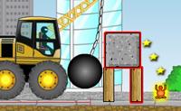 Estás equipando com um guindaste com uma bola de demolição. Em cada nível precisas de acertar na figura laranja (direta ou indiretamente), bem como em vários blocos com reflexos avermelhados. Quanto mais estrelas acertares, maior será a tua pontuação!