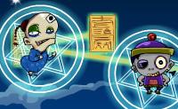 Coloca as cartas mágicas de tal forma, que elas toquem em todos os zombies para serem interligados. É assim que podes transformar os zombies em seres humanos normais de novo!