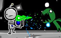 Vais ajudar o Jim o robot a sobreviver? O Jim aterrou num planeta onde ele se depara com tudo menos com uma receção calorosa. Criaturas extraterrestres atacam-no, uma espécie de lanterna atira esferas coloridas contra ele... Nesta situação, o ataque é a melhor defesa. E atacar é o que Jim faz de melhor - com a tua ajuda, é claro. Existem dois modos de jogo: o modo de Aventura e o modo Caixa de Areia. No primeiro caso, defendes a estação espacial contra os invasores extraterrestres e há vários chefes que precisas de matar. O modo Caixa de Areia é realmente uma luta sem fim, onde precisas de usar as tuas munições de forma inteligente e onde podes ganhar muitas moedas. Podes gastar essas moedas na loja, onde podes comprar armas e munições.