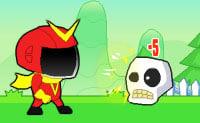 O V-Man precisa de energia e de armas para derrotar o monstro. Podes ganhar essas armas para ele, fazendo séries de 3, 4 ou 5 caixas idênticas. Boa sorte!