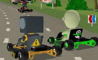 Entra no teu karting e tenta ser o primeiro a cruzar a linha de chegada: antes do zombie e de todas as outras criaturas que estão a ter a sua aventura no circuito de karting!