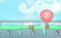 Os zombies querem ocupar o teu hotel e ter uma grande festa no terraço. Tu, como porteiro, não estás disposto a deixá-los entrar e barricas a porta. Não deste conta do facto de os zombies serem excelentes balonistas, porém, assim eles podem alcançar o terraço através do ar. És um tipo criativo e encontras uma solução: basta usar um arco clássico e flecha para atirar em todos os balões que estão no ar!