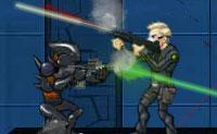 Cria o teu próprio agente AAT (Alien Attack Team) e escolhe se queres jogar no modo de campanha ou em jogo personalizado. Está na hora de envolver os alienígenas numa batalha! Quanto mais longe ficares, mais armas terás à tua disposição.