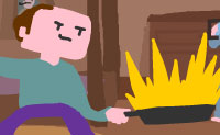 Este é o Conrad, um pobre homem com um talento especial: ele pode cozinhar panquecas e lançá-las como nenhum outro. Ele faz um espetáculo completo para a sua família. Podes ajudá-lo a virar o maior número possível de panquecas no ar? Certifica-te de que estás debaixo da panqueca quando ela vem para baixo, para que possas apanhá-la. Não deixes que a panqueca queime, mantendo-a ao lume por muito tempo: lança-a tão longe e tão frequentemente quanto possível!