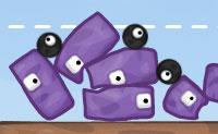 Constrói uma torre sólida de blocos roxos e certifica-te de que se mantém quando as balas pretas a tentam destruir!