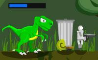 Abate as cobras para que o teu dinossauro possa comê-las depois. Não deixes que os inimigos abatam o teu dinossauro! Barra Vermelha = saúde, Barra Azul = XP.