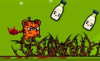 Que tigre estranho: um que não sabe fazer mais nada do que se aleijar! Então sabes o que fazer: não evites espinhos, serras circulares e estrelas ninja!