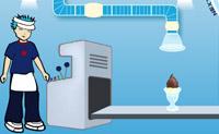 Usa esta máquina de sorvetes para preparar os sorvetes mostrados em cima à direita!