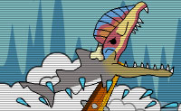 O 'Tubarão da morte' está agora a viver em tempos pré-históricos e a sua sede por sangue tornou-se ainda maior do que antes. Dá a este tubarão faminto, cruel o que ele precisa! Se quiseres fazer um super-salto, primeiro tens que mergulhar para baixo para depois acelerar para cima.