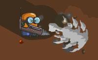 O Pequeno Cavador tem uma grande broca que ele pode usar para perfurar o seu caminho através de todo o tipo de solos, em busca de tesouros e bónus. Ele pode usar um radar para rastrear tesouros invisíveis, assim usa essa ferramenta se quiseres trabalhar de forma eficiente!
