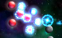 Tente tornar as bolas vermelhas em azuis, atirando bolas azuis contra elas. Só vais atingir essa meta causando reações em cadeia! Em cada turno tens três tentativas.