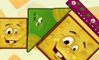 Empilha os cubos felizes, triângulos e outras formas e não deixes o vento soprar na pilha. Eles não podem rebolar ou cair por si mesmos, é claro!