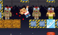Jack, o zombie está a atirar nas pessoas. Ele deve ter cuidado para não bater nos seus próprios amigos zombies! É por isso que ele deve continuar , muitas vezes de forma indireta e usar dinamite ou feixes de laser. Os cubos de vidro desviam os feixes de laser, então usa-os de forma inteligente!