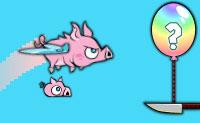 Costeletas voadoras... é assim que o açougueiro apreciador de carne considera os leitões neste jogo. Eles são leitões muito especiais: eles têm asas e voam nos céus para salvar os porcos que já foram enjaulados pelo açougueiro. Choca com as jaulas para libertar os porcos e apanha-os depois. Cuidado com as facas rotativas, apanha um monte de bolotas e atinge o maior número de balões possível! Quanto melhor fizeres isso, mais atualizações podes realizar .