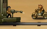 Uma gangue de motards quer assaltar o comboio no meio do deserto. Afugenta os motards, disparando sobre eles e lançando granadas contra eles, para que eles não cheguem ao comboio. Cuidado: estás debaixo de fogo, também!