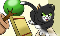Fãs dos gatos, por favor, atenção: este jogo foi feito para vocês! Experimenta como é a perambular como um gato e derrubar vasos, estatuetas ou ecrãs de televisão , mesmo equipamentos completos tranquilamente para fora do armário ou da mesa com as tuas patas de veludo macio. De preferência o maior número possível! Tens dois minutos para fazê-lo: faz o teu melhor para ganhar 100.000 pontos!
