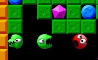 Apanha todos os cristais, mas tem cuidado para não seres atingido por nenhum deles, porque senão vais morrer! Podes simplesmente comer os blocos verdes e podes afastar as bolas azuis, mas não sejas atingido por estes, também!