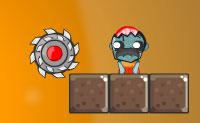 Mate os zombies com a serra circular! Como proceder? Remove os blocos bege pela ordem correta, de modo a que a serra circular caia ou rebole para o zombie.