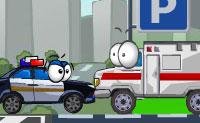 Estaciona todos os carros de polícia, bombeiros e ambulâncias no lugar certo, arrastando-os para o seu espaço de estacionamento. Não os empurres para muito longe, ou eles vão despenhar-se! Os carros dos criminosos, pelo contrário, devem ser descartados para o abismo.