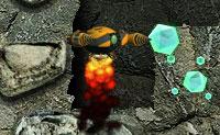 Apanha gemas e metais com a tua broca alienígena! Isso permite-te reparar a tua nave espacial . Fica de olho no medidor de calor na parte inferior direita! Quando a temperatura da tua broca subir muito, não podes perfurar por um tempo. O nível de combustível é algo que deves ter em atenção, também! Monstros assustadores andam à voltas no subsolo: assegura que eles não te apanham!