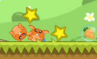 Leva os coelhinhos à cenoura! Podes transformar os coelhos amarelos, explodir os azuis e fazer os roxos partir. Tenta apanhar o máximo de três estrelas em cada nível.
