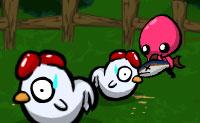 Monstros cor-de-rosa roubaram e mataram as tuas galinhas. Corta todos os monstros do pântano para baixo e causa um verdadeiro massacre. Apanha os corações para vidas extra!