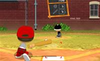 Neste jogo de basebol tenta bater a bola para quanto mais longe possível.