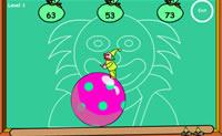 Este palhacinho tem de fazer muitas coisas ao mesmo tempo: equilibrar-se numa bola de circo e também tem de resolver somas. E isto não é tudo: quando ele tiver encontrado a resposta para a soma, tem de saltar da bola. Queres ajudá-lo para ver se ele não comete nenhum erro?