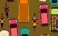 Conduzes num engarrafamento e tens de ter atenção às pessoas que atravessam a estrada e aos carros.