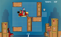Tente ajudar Parker e Badger a chegar em casa, deslocando as caixas que estão a bloquear o caminho.