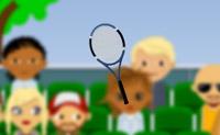 Equilibre a raqueta de ténis. Não deixe que a raqueta vire.