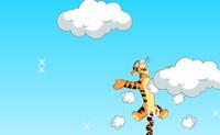 Salte com Tigrão o mais alto que possa, de nuvem a nuvem.