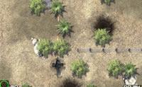 Tente atravessar a zona de combate com o helicóptero.