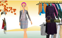 Vá lá... A Barbie necessita de roupas belas e quentinhas para o Outono. Pode ajudá-la?
