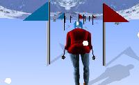 Vais fazer esqui. Tenta esquiar entre as estacas, porque se esquiares três vezes ao lado das estacas és desqualificado.