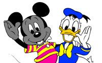 Pinte o Rato Mickey e o Pato Donald da forma mais bonita que conseguir!
