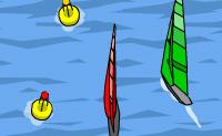 Vais numa competição de vela. Não choques muito contra os outros e tem atenção aos remoinhos. As baleias também são perigosas. Por isso, tem atenção e navega depressa!