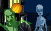 Lance abóboras e atinja os fantasmas e os vampiros antes que estes lhe acertem!