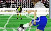 Chuta a bola para a baliza com efeito e defende depois a bola que o computador tenta atirar para a tua baliza!