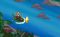 Surfar em cima duma folha num rio cheio de crocodilos... é empolgante!