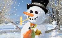 Clique nas setas azuis para montar o seu boneco de neve!